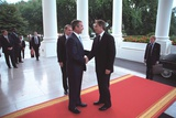 Pres. George W. Bush Greets Pm Tony Blair at the White House on Sept. 20, 2001 Photo