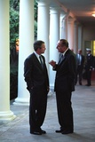 President George W. Bush Talks with President Jacques Chirac of France Photo
