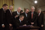 President George W. Bush Signs the Usa Patriot Act on Oct. 26,2001 Photo