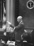 President Eisenhower Pointing to Acknowledge a Reporter at a Press Conference Photo