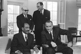 President Lyndon B. Johnson, Seated with Anwar Sadat, in the Oval Office, Feb.2, 1966 Photo