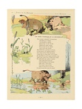 The Two Bulls and the Frog, La Fontaine's Fables Giclee Print by Benjamin Rabier