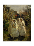 Girls at First Communion, in Courrieres, 1855 Giclee Print by Jules Breton
