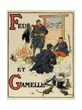 F – G: Fire and Dish, Alphabet of War, 1916 Giclee Print by Henri Lanos