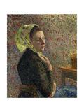 Woman Wearing a Green Headscarf Reproduction procédé giclée par Camille Pissarro