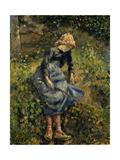 Girl with a Stick Reproduction procédé giclée par Camille Pissarro