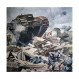 English Tanks Attacking German Troops in Picardie, 1916 Giclee Print by Achille Beltrame