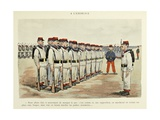 Military Illustration in My 28 Days, 1896, Soldiers in Drill Giclee Print by Albert Guillaume