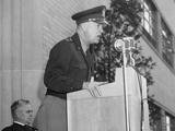 Gen. Eisenhower Speaking at the Aircraft Engine Research Laboratory at Lewis Field Photo