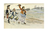 Walking with Volunteer Soldiers of French Revolutionary Army Reproduction procédé giclée par Jacques de Breville