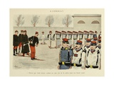Military Illustration in My 28 Days, 1896, Soldiers Drilling Giclee Print by Albert Guillaume