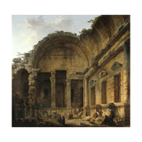 Interior of the Temple of Diana at Nimes. 1786 Giclee Print by Hubert Robert