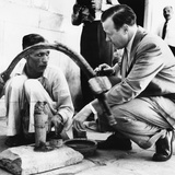 Uaw President Walter Reuther Talking with an Stone Cutter in New Delhi, India Photo