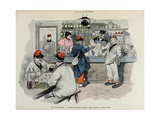 Military Illustration in Mes Campagnes, 1896, Recruits at the Canteen Giclee Print by Albert Guillaume