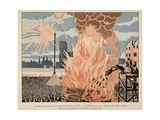 Bonfire on Place De Greve in Paris Giclee Print by Jacques de Breville