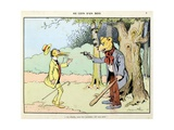 At the Corner of a Wood: the Charity Asked by a Robber, 'Menagerie' Giclee Print by Benjamin Rabier