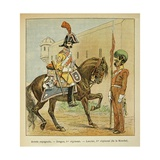 Spanish Army: 1st Regiment Dragoon and Lancer of the Mancha Giclee Print by Louis Bombled