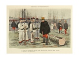 Military Illustration in My 28 Days, 1896, Soldiers in Orientation Exercise Giclee Print by Albert Guillaume
