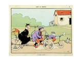 On the Road: Family Tandem, 'Menagerie' Giclee Print by Benjamin Rabier