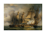 Naval Battle Between Frigates Between La Bayonnaise and L'Embuscade, Dec. 14, 1798 Giclee Print by Louis Philippe Crepin