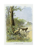 The Dog and the Wolf, La Fontaine's Fables Giclee Print by Gustave Fraipont