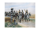 Dragoon Regiment in Front of the Boundary Post, Late 18th Century Giclee Print by Edouard Detaille