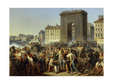 Battle at the Porte Saint-Denis, Paris, France, July 28, 1830 Giclee Print by Hippolyte Lecomte