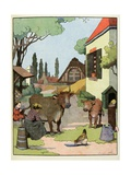 The Milking Cows. 'Chosen Buffoon' Giclee Print by Benjamin Rabier