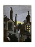 Cats on the Roof at Night. 'Chosen Buffoon', Giclee Print by Benjamin Rabier
