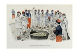 Military Illustration in Mes Campagnes, 1896, Recruits at the Potatoes Circle Giclee Print by Albert Guillaume