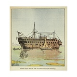 English Prison Ship in Portsmouth Harbor for French Prisoners of War Giclee Print by Louis Bombled