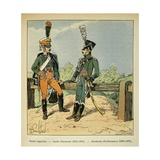 Napoleon Imperial Guard Honor Guard in 1813-14 and Orderly Gendarme in 1806-07 Giclee Print by Louis Bombled