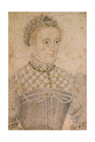 Portrait of Young Mary Stuart , Queen of France and Scotland. Ca. 1565 Giclee Print by Francois Clouet