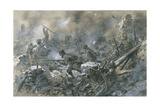 French Counter-Attack at Village of Vaux Near Verdun, 1916 Giclee Print by Paul Thiriat