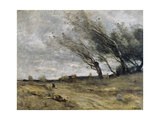 The Gust of Wind, 1870 Giclee Print by Camille Corot