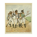 Young Guard: Conscript Grenadier, Tirailleur-Grenadier, and Flanqueur-Chasseur Giclee Print by Louis Bombled