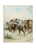 Don Quixote Attacks a Carriage. 'Story of Don Quixote,' Illus. by Jules David. Giclee Print by Jules David
