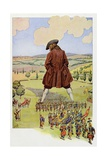 Gulliver's Travels, Lilliputian Army Marches Through Gulliver's Legs Reproduction procédé giclée par Jacques de Breville