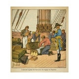 English Admiralty Inspects Napoleon's Luggage Prior to Departing for St. Helena Giclee Print by Louis Bombled
