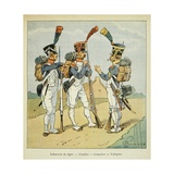 Napoleonic Wars, French Army. Line Infantry: Fusilier, Grenadier and Voltigeur Giclee Print by Louis Bombled