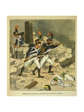 Napoleonic Wars, Battle of Essling, French Tirailleurs His Guard at Aspern Giclee Print by Louis Bombled