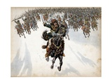 Murat at the Head of the Cavalry in Battle of Eylau Giclee Print by Jacques de Breville