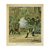 Emperor Napoleon Hunting Wild Boar in the Forest of Marly Giclee Print by Louis Bombled