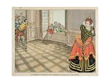 Duchess of Montpensier Protects Her Dog from Hungry Parisians Giclee Print by Jacques de Breville