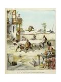 Sancho Panza Mauled at the Tavern. 'Story of Don Quixote,' Illus. by Jules David. Giclee Print by Jules David