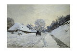 The Cart. Snow-Covered Road at Honfleur, Ca. 1867 Giclee Print by Claude Monet