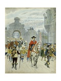 King Louis XIII and Cardinal Richelieu Entering La Rochelle after its Surrender Giclee Print by Maurice Leloir
