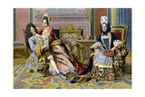 Duchess of Burgundy and King Louis XIV in Presence of Madame De Maintenon Giclee Print by Maurice Leloir