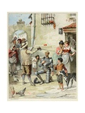 Don Quixote Is Knighted. 'Story of Don Quixote,' Illus. by Jules David. Giclee Print by Jules David