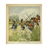 Napoleonic Wars, French Army Crosses the Piave During the Italian Campaign Giclee Print by Louis Bombled